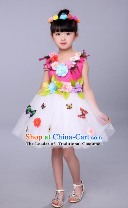 Top Grade Stage Performance Flowers Dance Costume, Professional Modern Dance Rosy Dress for Kids