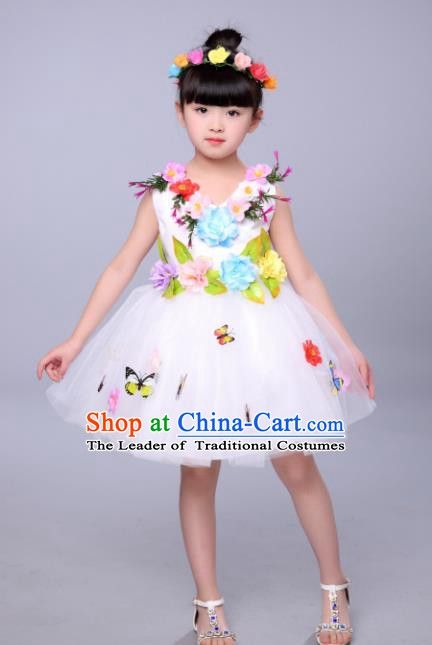 Top Grade Stage Performance Flowers Dance Costume, Professional Modern Dance White Dress for Kids