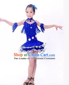 Top Grade Stage Performance Latin Dance Costume, Professional Modern Dance Blue Dress for Kids