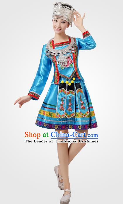 Traditional Chinese Ethnic Costume Chinese Miao Minority Nationality Dance Blue Dress for Women