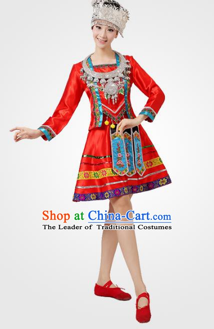 Traditional Chinese Ethnic Costume Chinese Miao Minority Nationality Dance Red Dress for Women