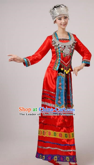Traditional Chinese Ethnic Costume Red Dress Chinese Miao Minority Nationality Dance Clothing for Women