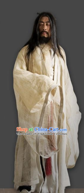 Chinese Ancient Qin Dynasty Musician Swordsman Gao Jianli Replica Costume for Men
