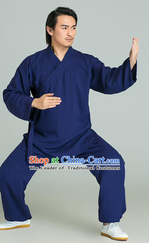 Top Grade Kung Fu Costume Martial Arts Training Gongfu Wushu Tang Suit Blue Clothing for Men