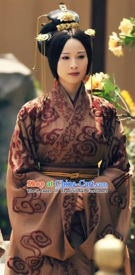 Ancient Chinese Han Dynasty Princess Pingyang Hanfu Dress Embroidered Replica Costume for Women