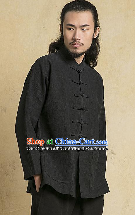 Chinese Kung Fu Martial Arts Costume Black Tang Suits Gongfu Wushu Tai Chi Clothing for Men
