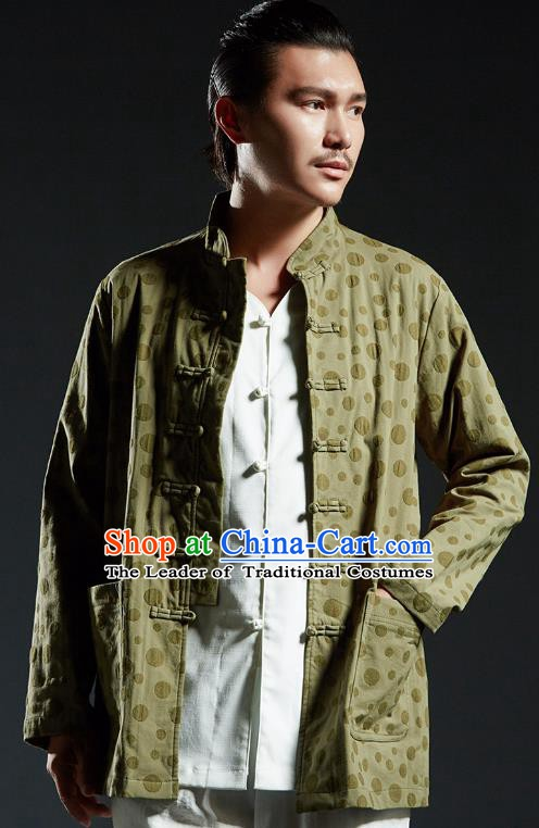 Chinese Kung Fu Martial Arts Gongfu Green Tang Suits Costume Wushu Tai Chi Clothing for Men