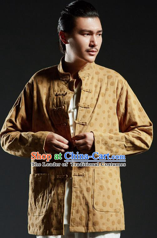 Chinese Kung Fu Martial Arts Gongfu Yellow Tang Suits Costume Wushu Tai Chi Clothing for Men