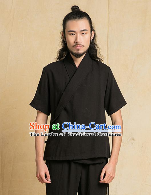 Chinese Kung Fu Black Costume Tang Suits Martial Arts Gongfu Wushu Tai Chi Clothing for Men
