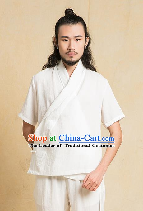 Chinese Kung Fu White Costume Tang Suits Martial Arts Gongfu Wushu Tai Chi Clothing for Men