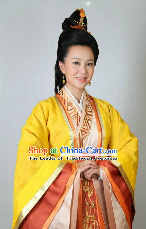 Traditional Chinese Ancient Warring States Period Qin Kingdom Imperial Consort Yong Embroidered Replica Costume for Women