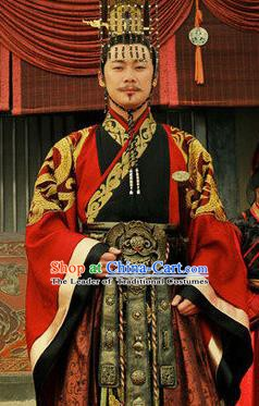 Traditional Chinese Ancient Warring States Period Chu State Emperor Mi Huai Replica Costume for Men