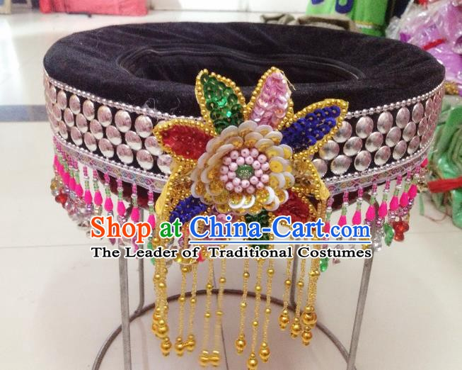 Traditional Chinese Yi Nationality Dance Hair Accessories Tassel Hats Hmong Ethnic Minority Headwear for Women