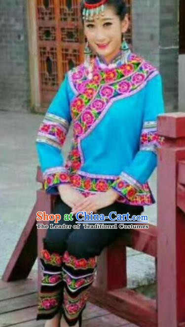 Traditional Chinese Miao Nationality Dance Blue Costume Chinese Hmong Minority Embroidered Costume for Women