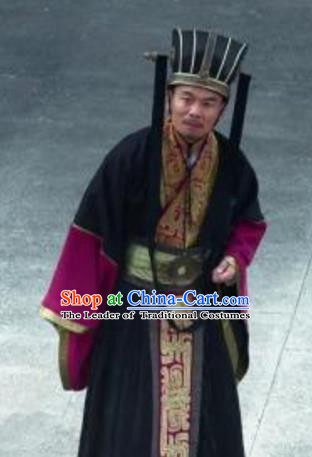 Traditional Chinese Ancient Qin State Minister Replica Costume for Men