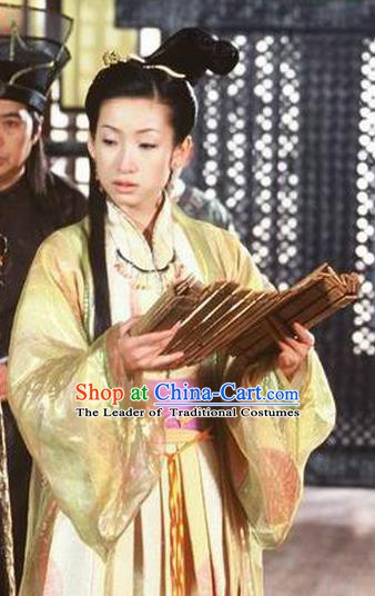 Chinese Ancient Chunqiu Period Jin State Imperial Concubine Li Embroidered Replica Costume for Women