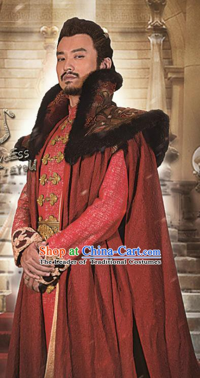 Ancient Chinese Han Dynasty Western Regions King Jun Xumi Replica Costume for Men