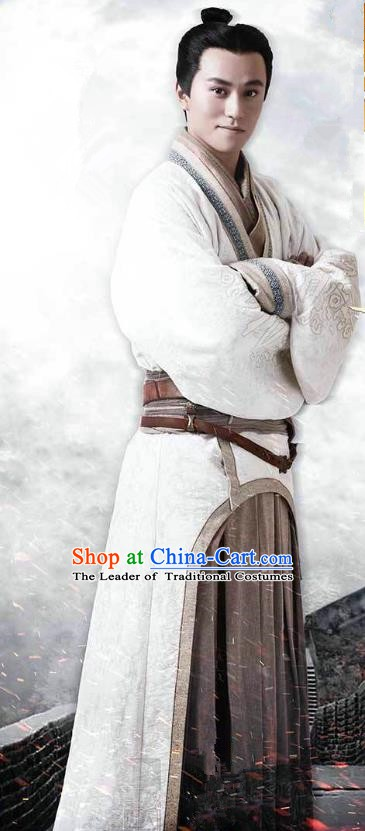 Ancient Chinese Warring States Period Swordsman Chu Kingdom General Xiang Shaoyu Replica Costume for Men