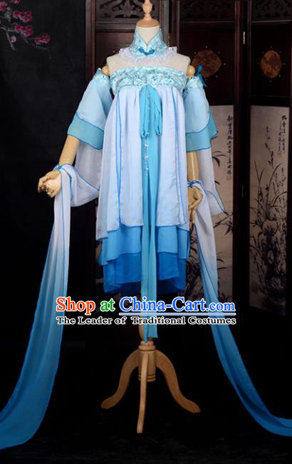 Chinese Ancient Young Lady Costume Cosplay Swordswoman Blue Dress Hanfu Clothing for Women