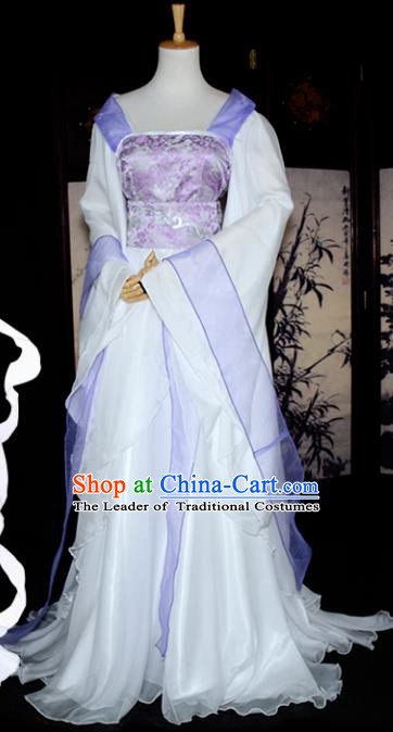 Chinese Ancient Palace Princess Costume Cosplay Swordswoman Purple Dress Hanfu Clothing for Women