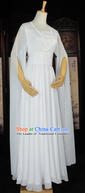 Chinese Ancient Female Knight Little Dragon Maiden Costume Cosplay Princess Fairy White Dress Hanfu Clothing for Women