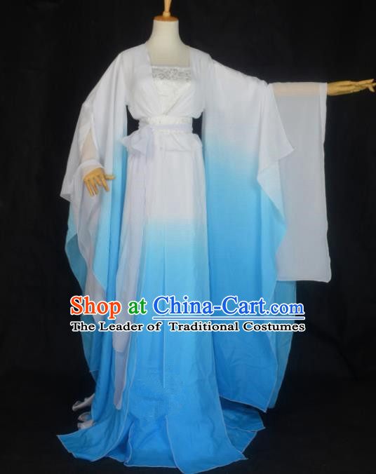 Chinese Ancient Palace Princess Costume Cosplay Female Swordsman Blue Dress Hanfu Clothing for Women