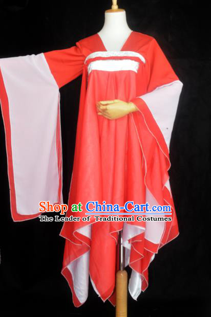 Chinese Ancient Young Lady Costume Cosplay Female Swordsman Red Dress Hanfu Clothing for Women