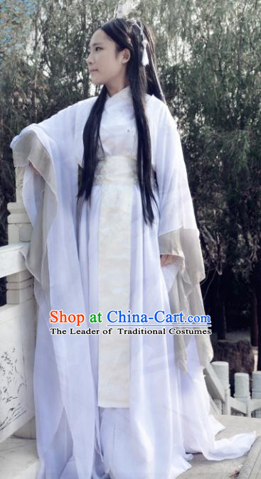 Traditional Chinese Ancient Knight-errant Costume Cosplay Swordsman Hanfu White Clothing for Men