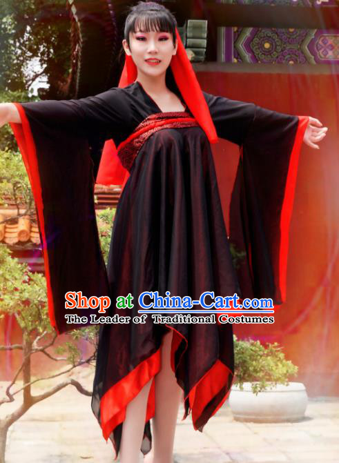 Chinese Ancient Young Lady Costume Cosplay Female Swordsman Black Dress Hanfu Clothing for Women