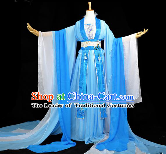 Chinese Ancient Fairy Princess Costume Cosplay Female Swordsman Blue Dress Hanfu Clothing for Women