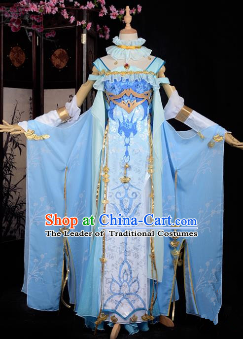 Chinese Ancient Swordswoman Costume Cosplay Tang Dynasty Heroine Blue Dress Hanfu Clothing for Women