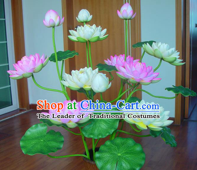 Traditional Handmade Chinese Lotus Flowers Lanterns Electric Lamps Buddhism Desk Lamp