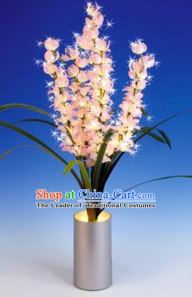 Traditional Handmade Chinese Orchid Lanterns Electric LED Lights Lamps Desk Lamp Decoration