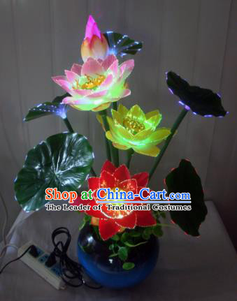 Traditional Handmade Chinese Lotus Lanterns Electric LED Lights Lamps Desk Lamp Decoration