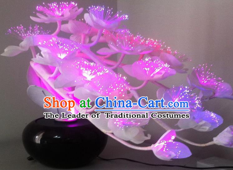 Traditional Handmade Chinese Bonsai Butterfly Orchid Lanterns Electric Rosy LED Lights Lamps Desk Lamp Decoration
