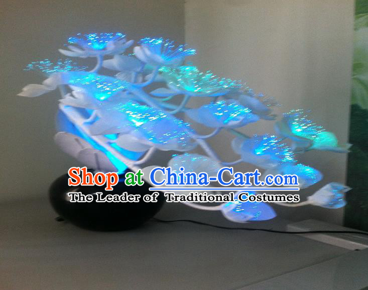 Traditional Handmade Chinese Bonsai Butterfly Orchid Lanterns Electric Blue LED Lights Lamps Desk Lamp Decoration