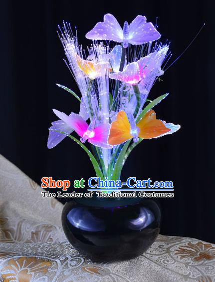 Traditional Handmade Chinese Bonsai Butterfly Lanterns Electric Purple LED Lights Lamps Desk Lamp Decoration