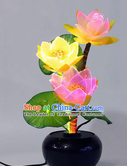 Traditional Handmade Chinese Lotus Lanterns Buddhist Prayer Room Electric LED Lights Lamps Desk Lamp Decoration