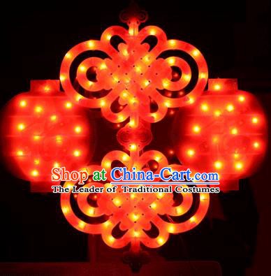 Traditional Handmade Double Chinese Knots Lanterns Spring Festival Electric LED Lights Lamps Hanging Lamp Decoration