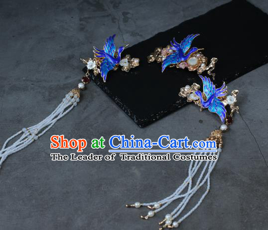 Traditional Chinese Ancient Tassel Blueing Phoenix Hair Stick Classical Hair Accessories Handmade Hairpins for Women