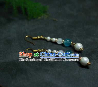 Traditional Chinese Ancient Handmade Hanfu Blue Beads Pearls Earrings for Women