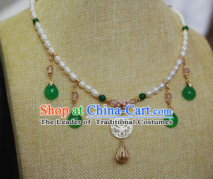 Traditional Chinese Ancient Handmade Pearls Necklet Hanfu Green Jade Necklace for Women