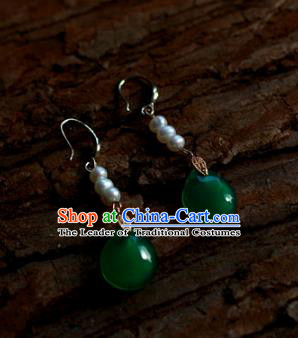 Traditional Chinese Ancient Handmade Pearls Earrings Hanfu Jade Eardrop for Women