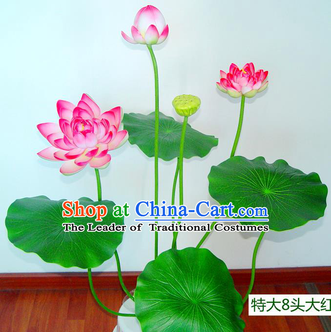 Traditional Handmade Chinese Red Lotus Bonsai Decoration Buddhist Temple Decoration