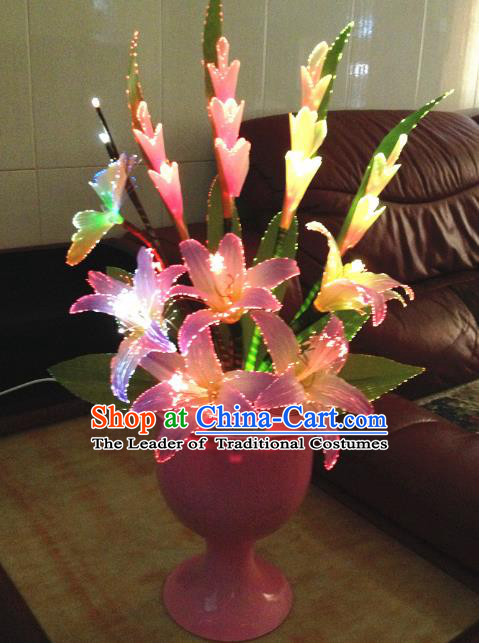Traditional Handmade Chinese Greenish Lily Flowers Electric LED Lights Lamps Lamp Decoration