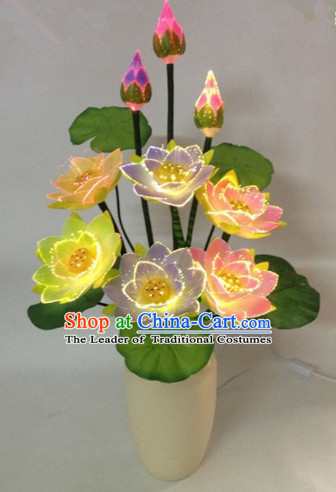 Traditional Handmade Chinese Lotus Flowers Electric LED Lights Lamps Lamp Decoration