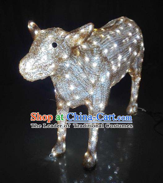 Traditional Handmade Chinese Zodiac Ox Electric LED Lights Lamps Lamp Decoration