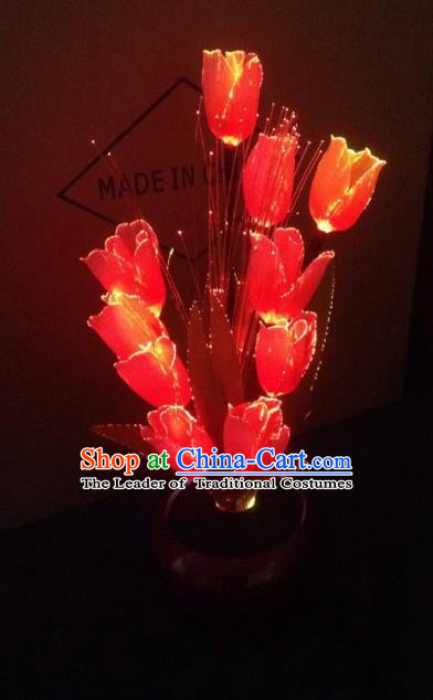 Traditional Handmade Chinese Red Tulip Lanterns Electric LED Lights Lamps Desk Lamp Decoration