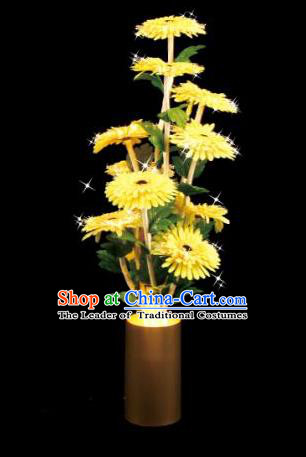 Traditional Handmade Chinese Yellow Chrysanthemum Lanterns Electric LED Lights Lamps Desk Lamp Decoration