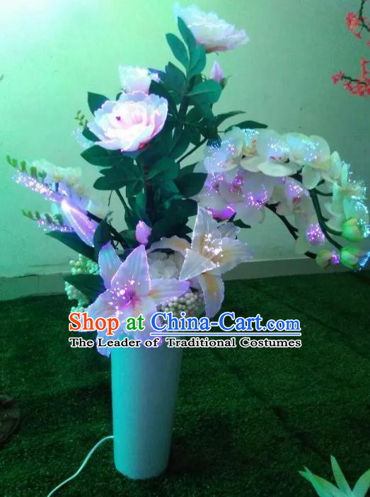 Traditional Handmade Chinese Phalaenopsis Lanterns Electric LED Lights Lamps Desk Lamp Decoration